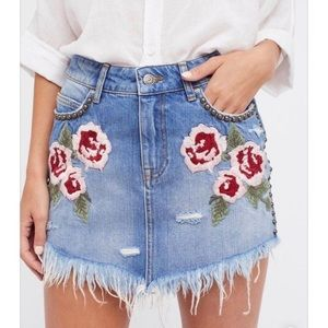 Free People Rose Embroidered Denim Skirt
